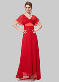 Empire Waisted True Red Maxi Dress with Flutter Sleeves