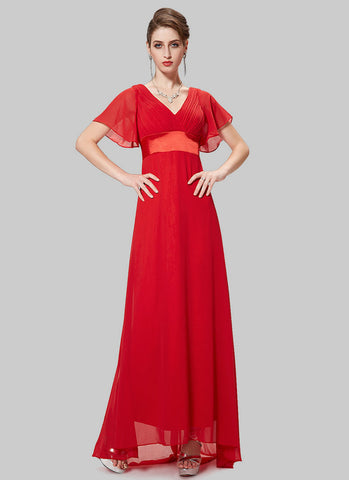 Empire Waisted True Red Maxi Dress with Flutter Sleeves RM459