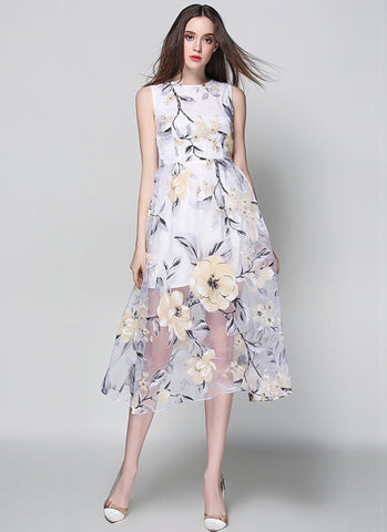 Sleeveless Yellow Floral Organza Tea Dress - Floral Organza Midi Dress RM539