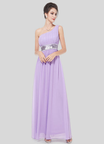 One Shoulder Violet Maxi Dress with Sequin Waist Yoke RM516