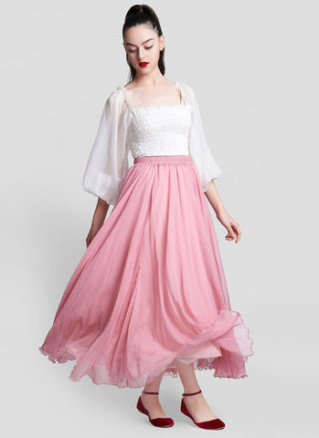 Light Pink Chiffon Maxi Skirt with Extra Wide Hem - Long Light Pink Chiffon Skirt - SK5a2