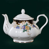 Fine Bone China Tea Set (21 Pieces) with Handpainted Floral Motif