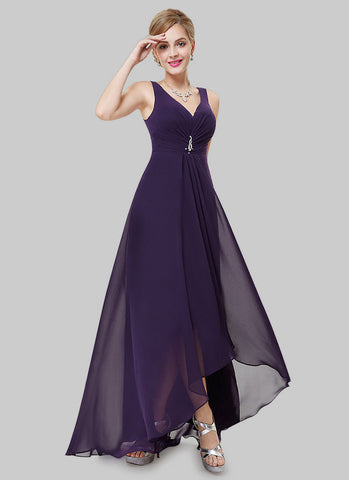 V Back Indigo Evening Dress with Sweetheart Neck RM498