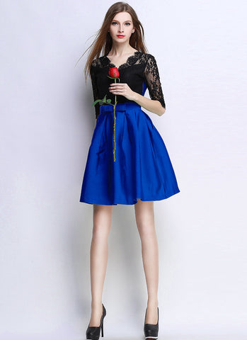V Neck V Back Blue Satin Mini Dress with Black Top RD630