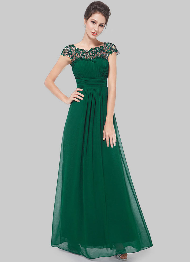 Embellished Open Back Green Lace Chiffon Evening Gown