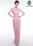 Open Back Pink Floral Lace Floor Length Evening Dress with Mermaid Silhouette and Cap Sleeves