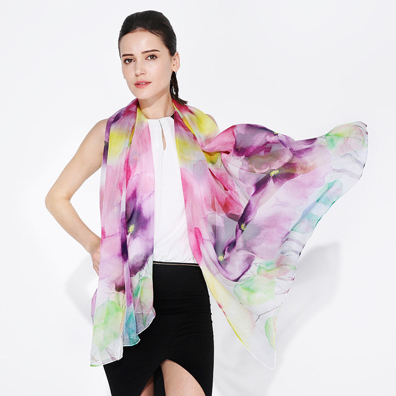Digital Printed Silk Chiffon Scarf - Light Colored Smudge Floral Silk Scarf - PS2-7