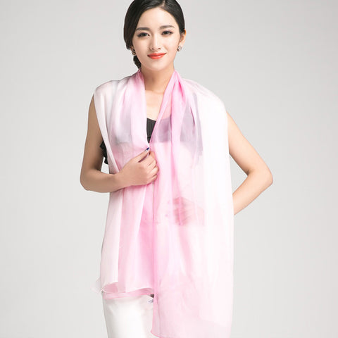 Gradient Color Mulberry Silk Scarf - Pink Silk Chiffon Scarf - Pink Gradient Silk Scarf - GS1-7