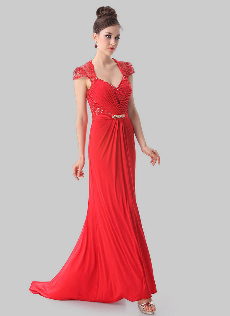 Red Lace Evening Gown with Sequin & Rhinestone Embellishment RM471 ...