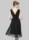 V Neck V Back Black Lace Mini Fit and Flare Dress
