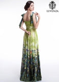 Green Chiffon Colorful Bird Print Maxi Evening Dress with Pleated Waist and Wide Skirt Hem