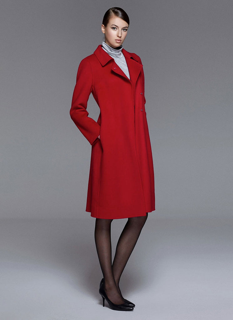 True Red Belted Cashmere Wool Coat