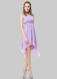 Violet Asymmetric Mini Dress with Lace Details