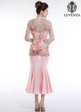 Light Nude Pink Embroidered Tulle Tea Length Evening Dress with 3D Butterfly Applique