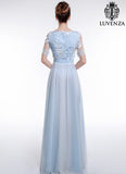 Light Blue Tulle Maxi Evening Dress with 3D Floral Applique Lace Bodice Gown
