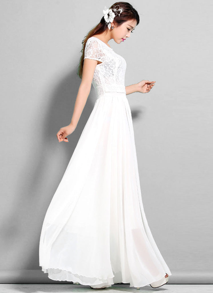 59e06cf307 White Lace Chiffon Maxi Dress with Cap Sleeves RM320 – RobePlus