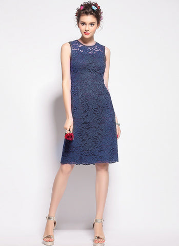 Navy Lace Aline Mini Dress with Scalloped Hem and Eyelash Finishes RD587