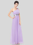 One Shoulder Violet Maxi Dress with Sequin Waist Yoke