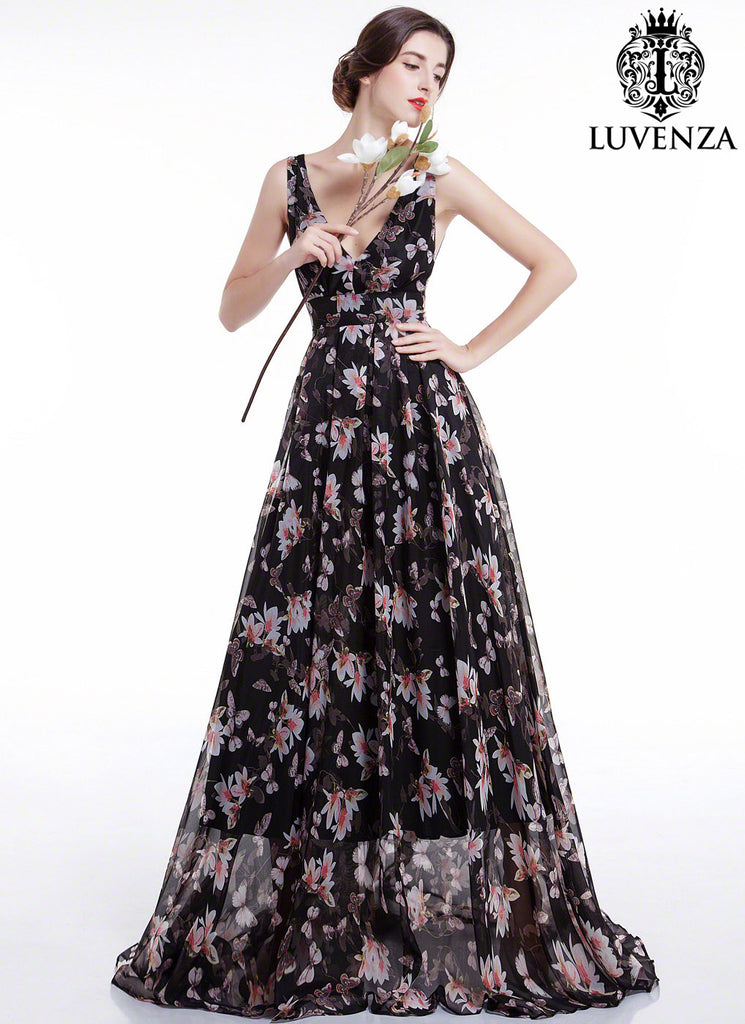 Black Chiffon Floral Print Maxi Length Evening Dress with Pleated Skirt and Open Back