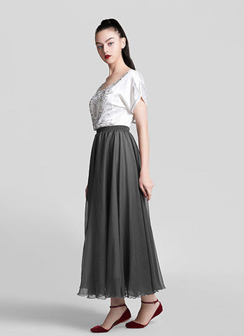 Dark Gray Chiffon Maxi Skirt with Extra Wide Hem - Long Dark Grey Chiffon Skirt - SK5a2