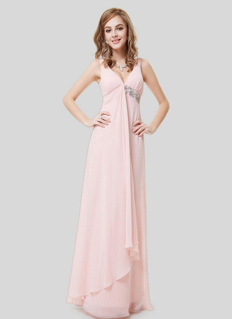 Empire Waisted Pale Pink Evening Dress with Sequin Details