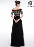 Black and Brown Elegant Bohemian Maxi Evening Dress with Floral Accents