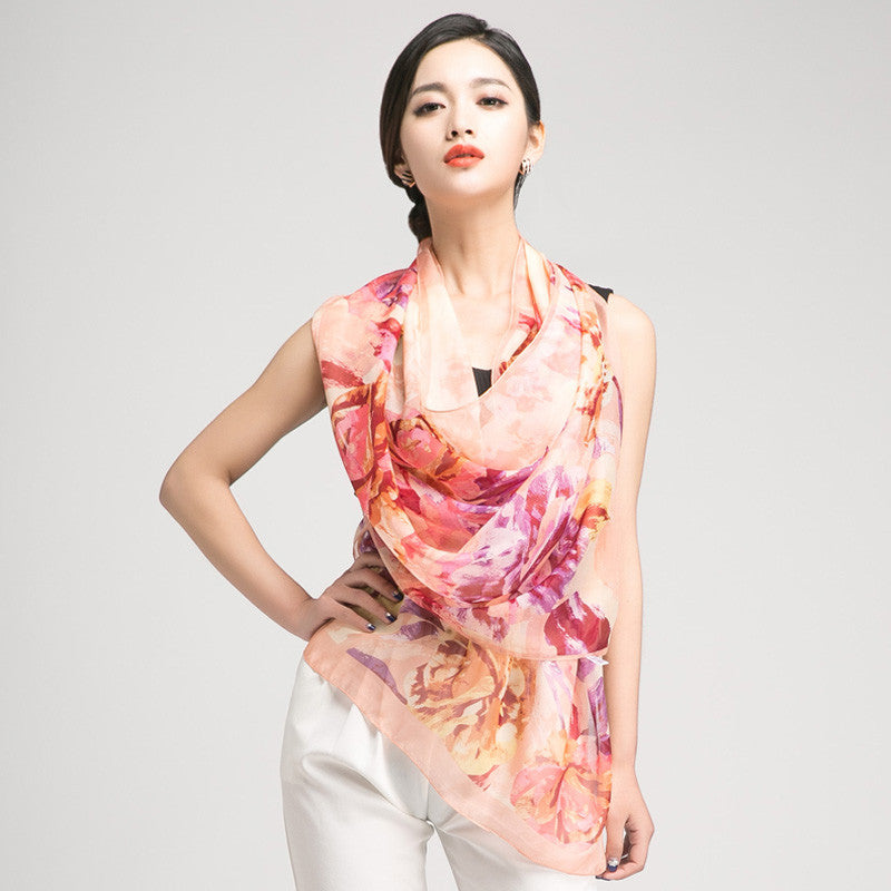 Pale Orange Silk Scarf with Large Floral Print - Large Salmon Floral Silk Georgette Scarf Shaw - PS3-8