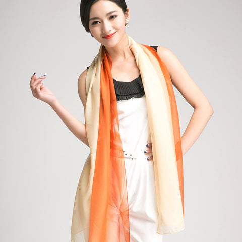 Gradient Color Mulberry Silk Scarf - Salmon Silk Chiffon Scarf - Papaya Whip Silk Scarf - GS1-8
