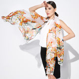 Digital Printed Silk Chiffon Scarf - Oil Paint Style Orange Floral and Branch Silk Scarf - PS2-8