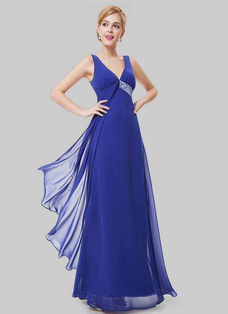 Empire Waisted Royal Blue Evening Dress with Sequin Details