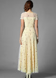 Floral Embroidered Ivory Lace Maxi Dress with Yellow Lining