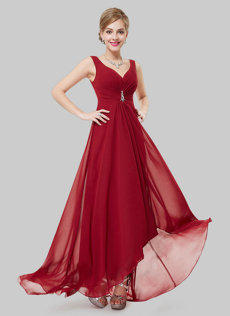 V Back Maroon Evening Dress with Sweetheart Neck