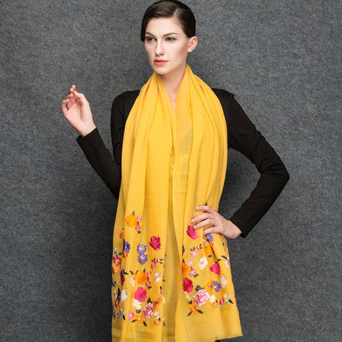 Yellow Wool Scarf - Lightweight Wool Embroidery Scarf - Yellow Wool Embroidery Scarf  - WS3