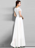 White Lace Chiffon Maxi Dress with Cap Sleeves