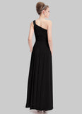 One Shoulder Black Evening Dress with Lace Details