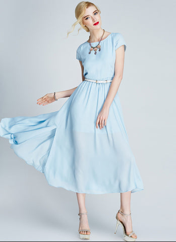 Light Blue Chiffon Midi Dress with Cap Sleeves and Side Slit MD20