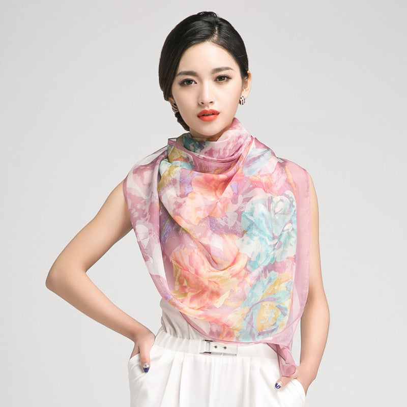 Violet Silk Scarf with Large Floral Print - Large Thistle Floral Silk Georgette Scarf Shaw - PS3-9