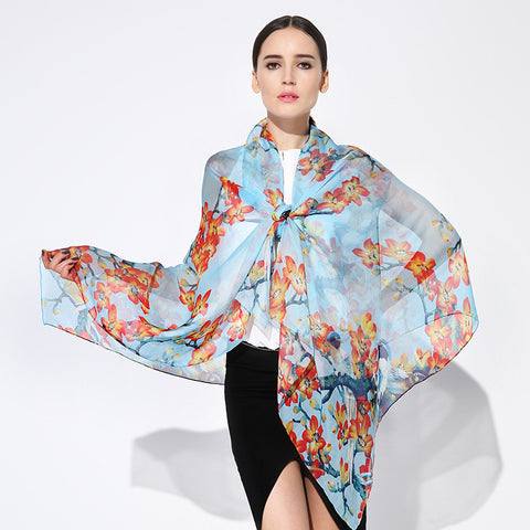 Digital Printed Silk Chiffon Scarf - Light Blue Silk Scarf with Floral Print - PS2-9