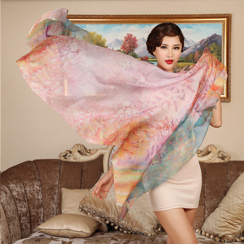 Digital Printed Silk Chiffon Scarf - Abstract Floral Mulberry Silk Scarf PS1-Autumn Abstract