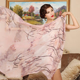 Digital Printed Silk Chiffon Scarf - Oil Paint Style Floral Mulberry Silk Scarf PS1-Autumn Lotus