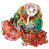 Digital Printed Silk Chiffon Scarf - Abstract Patterned Mulberry Silk Scarf PS1-Autumn Forest