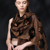 BLACK FLORAL EMBROIDERED MULBERRY SILK SCARF - HANDMADE FLORAL EMBROIDERED SILK SCARF - FLORAL SILK SCARF -2016O1