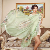 Digital Printed Silk Chiffon Scarf - Floral Print Mulberry Silk Scarf PS1-Butterfly & Flower Green