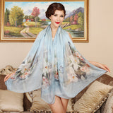 Digital Printed Silk Chiffon Scarf - Floral Print Mulberry Silk Scarf PS1-Butterfly & Flower Pink