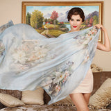 Digital Printed Silk Chiffon Scarf - Floral Print Mulberry Silk Scarf PS1-Butterfly & Flower Blue
