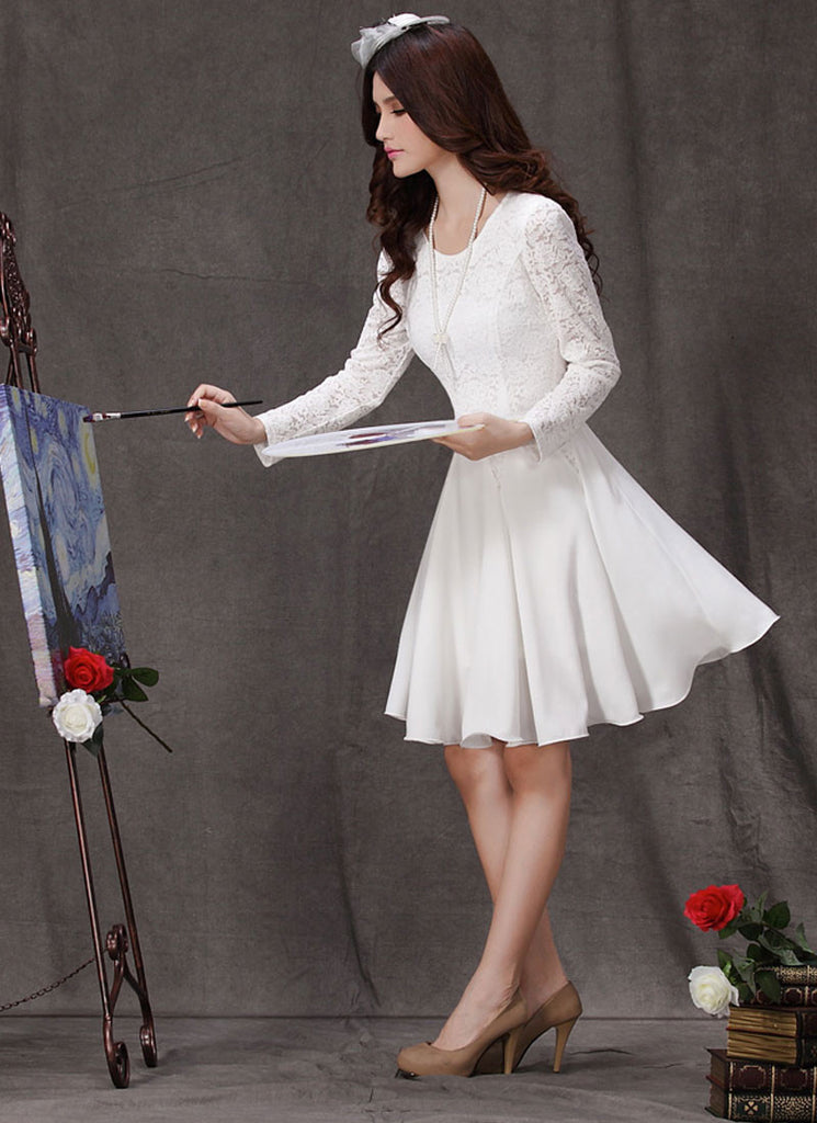 0ffb0c802ad White Lace Fit   Flare Mini Dress with Long Sleeves (White Lace ...