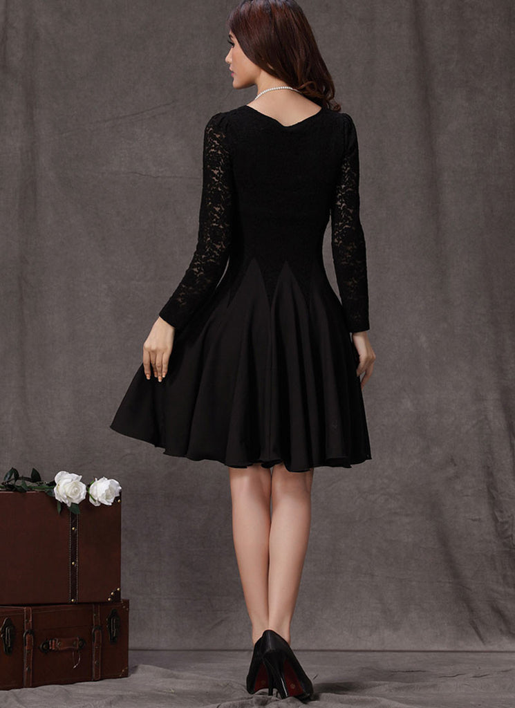 Black Lace Fit And Flare Mini Dress With Long Sleeves R4 Robeplus