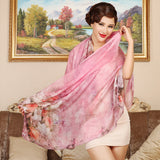 Digital Printed Silk Chiffon Scarf - Subtle Floral Print Mulberry Silk Scarf PS1- Flower Gossip (Blue)