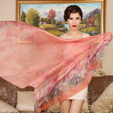 Digital Printed Silk Chiffon Scarf - Floral Print Mulberry Silk Scarf PS1- Orange Floral Scarf
