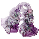 Digital Printed Silk Chiffon Scarf - Lily Print Mulberry Silk Scarf PS1- Purple Lily
